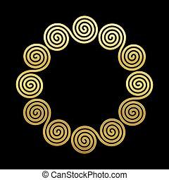金, ダブル, ラウンド, 円, フレーム, らせん状に動きなさい, 背景, 黒