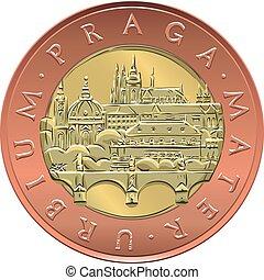 金, チェコ, お金, ベクトル, 20, コイン, crones