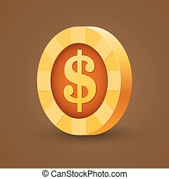 金, ドル, 隔離された, 暗い背景, コイン