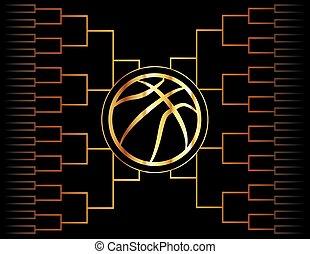 金, バスケットボール, アイコン, そして, ブラケット