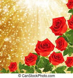 金, バラ, 抽象的, 緑の背景, 葉, 赤