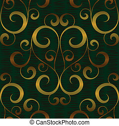 金, パターン, 抽象的, seamless, 背景, 花