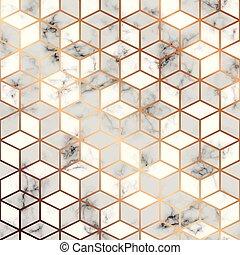金, パターン, 現代, ライン, seamless, 大理石模様にすること, 贅沢, ベクトル, デザイン, 背景, 大理石, 立方体, 黒, 白, 手ざわり, 幾何学的, 表面