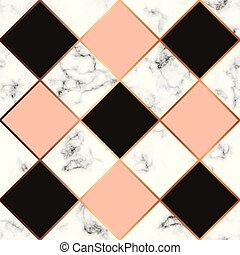 金, パターン, 現代, seamless, 大理石模様にすること, 贅沢, ライン, ベクトル, デザイン, 背景,...