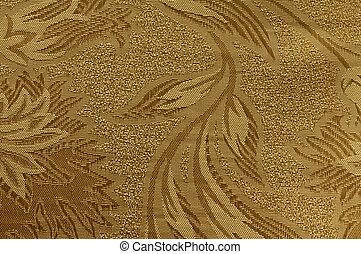 金, パターン, 装飾, 織物, 花, ブロケード