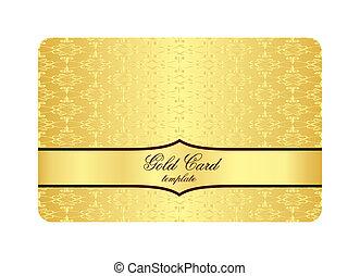 金, パターン, 贅沢, 型, 刻まれた, カード