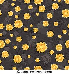 金, パターン, seamless, 暗い背景, デイジー, 花