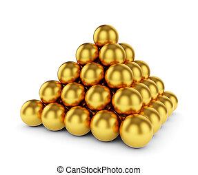 金, ピラミッド, 隔離された, 球