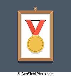 金, フレーム, メダル, 映像