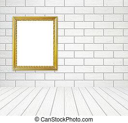 金, フレーム, 中に, 部屋, ∥で∥, 白, 木, 壁, (block, style), そして, 木