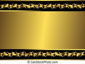 金, フレーム, 黒, (vector), 型
