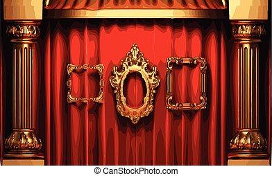 金, フレーム, rev, ベクトル, カーテン, ステージ