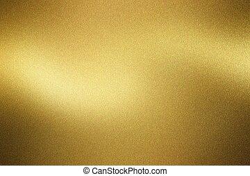 金, ブラシをかけられる, 抽象的, 金属の壁, 手ざわり, 背景, 光沢がある