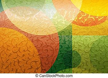 金, ブロケード, パターン, カラフルである, 装飾, 織物, 花