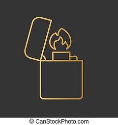 金, ベクトル, -, イラスト, より軽い, アイコン, タバコ
