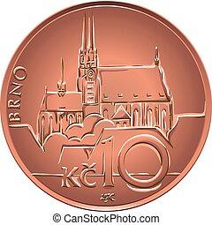 金, ベクトル, コイン, 10, 後退しなさい, crones, チェコ, お金