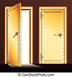 金, ベクトル, 地下, イラスト, door.