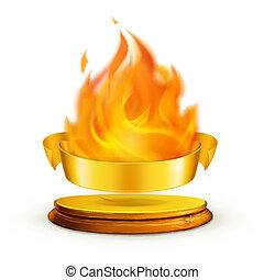 金, ベクトル, 炎