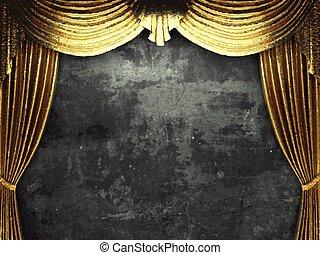 金, ベクトル, 背景, カーテン