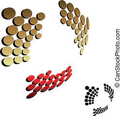 金, ベクトル, 黒い矢印, 3d