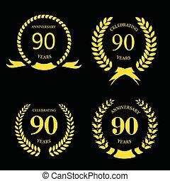 金, ベクトル, 80, 祝福, 月桂樹, 年, アイコン, 記念日, テンプレート, お祝い, 90, set., 80th, design.