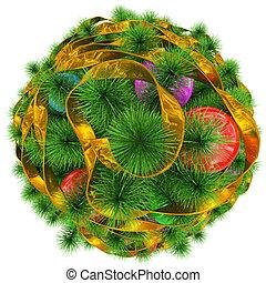 金, ボール, カラフルである, -, 上, 木, 隔離された, クリスマス, 白, 飾られる, リボン, 光景