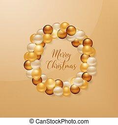 金, ボール, カード, 旗, 花輪, クリスマス, 招待, ベクトル, 挨拶, 背景, フライヤ, カレンダー, あなたの, ポスター, パンフレット