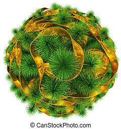 金, ボール, 木の上, -, 隔離された, クリスマス, 白, 飾られる, リボン, 光景