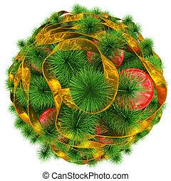 金, ボール, 木の上, -, 隔離された, クリスマス, 赤い白, 飾られる, リボン, 光景