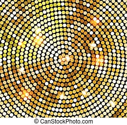 金, ボール, 金, ライト, 抽象的, ディスコ, バックグラウンド。, ベクトル, 背景, 光沢がある, style., モザイク