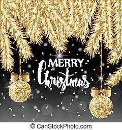 金, ボール, card., 才知に長けている, 小枝, 雪, bows., バックグラウンド。, 黒, トウヒ, 光沢がある, クリスマス