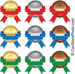 金, メダル, 背景, 白, リボン, 銀, 銅