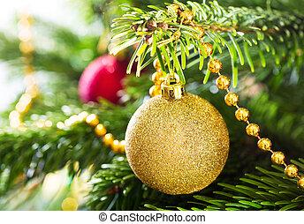 金, モミ, ボール, 掛かること, クリスマスツリー修飾, :