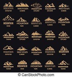 金, ラベル, バックグラウンド。, アイコン, 山, セット, 隔離された, デザイン, 暗い, スタイル, ロゴ, 紋章, 印。, 要素