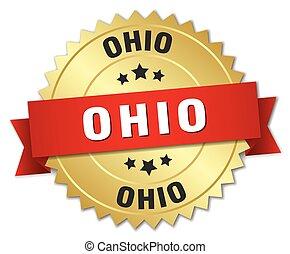 金, リボン, オハイオ州, バッジ, ラウンド, 赤