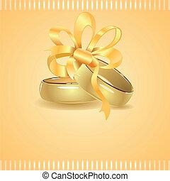 金, リング, の上, 結ばれた, 2, 結婚式, リボン