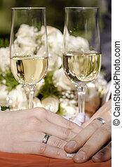金, リング, 2, glasses., 結婚式, 絹