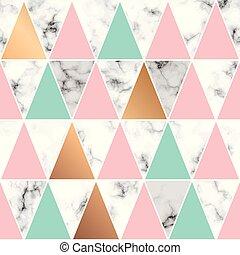 金, 三角形, パターン, 現代, ライン, seamless, 大理石模様にすること, 贅沢, ベクトル, デザイン, 背景, 大理石, 黒, 白, 手ざわり, 幾何学的, 表面