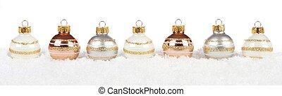 金, 上に, 白い雪, 安っぽい飾り, 銀, ボーダー, クリスマス