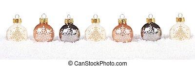 金, 上に, 雪, クリスマス, 白, ボーダー, 安っぽい飾り