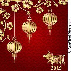 金, 中国語, 花, 新しい, 豚, 東洋人, ランタン, sakura, 年, 2019, 花, カード, 幸せ