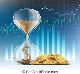 金, 中, コイン, ドル記号, 通貨, 砂時計