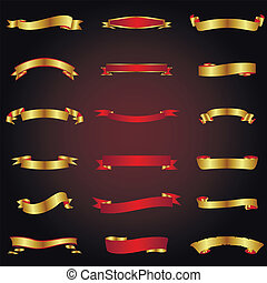 金, 以及, 紅色, 帶子, 集合
