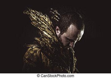 金, 作られた, スーツ, 男性らしさ, ひげ, 翼, 人
