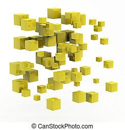 金, 作られた, 抽象的な形, 立方体, 3d
