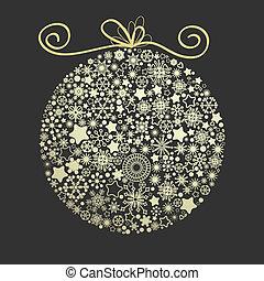 金, 作られた, 雪片, 上に, クリスマス, 暗い, 優雅である, 背景, 地球