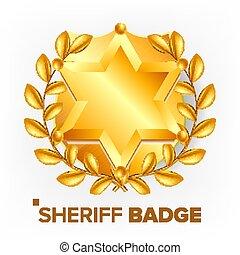 金, 保安官, star., object., emblem., 現実的, レトロ, イラスト, vector., 3d...
