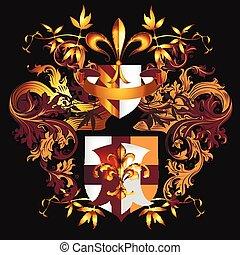 金, 保護, 色, heraldic, de, 装飾, fleur, luxyry, ベクトル, デザイン, lis, style.eps, crown.