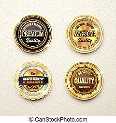 金, 優れた, ラベル, コレクション, 素晴らしい, 品質