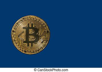 金, 光沢がある, コイン, bitcoin, 上に, a, 青い背景
